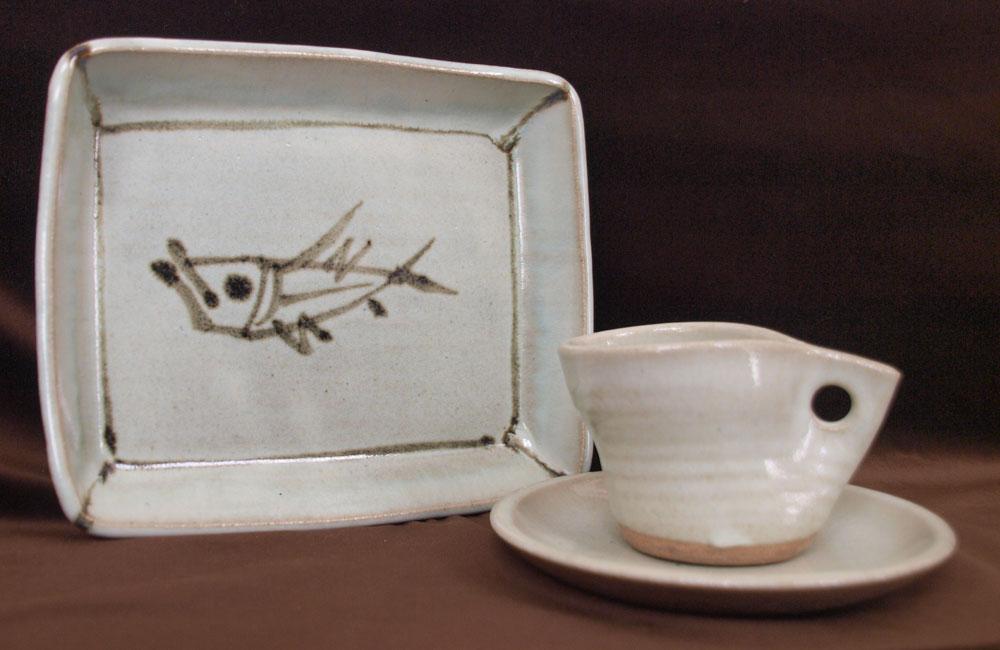 魚文角皿&コーヒーカップ