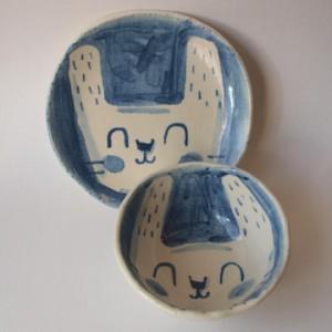 幸せ顔の動物皿&ボウル(うさぎ)